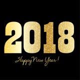 Szczęśliwy nowy rok 2018 z złotem i confetti Obraz Royalty Free