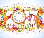 Szczęśliwy nowy rok 2017 z zegarem Fotografia Royalty Free