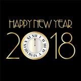 Szczęśliwy nowy rok 2018 z zegarem na czerni ilustracji