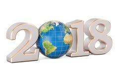 Szczęśliwy nowy rok 2018 z Ziemskim kuli ziemskiej pojęciem, 3D rendering Fotografia Stock