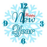 Szczęśliwy nowy rok - zegar na płatek śniegu ilustracji