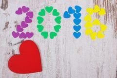 Szczęśliwy nowy rok 2016 zrobił kolorowi serca, kopii przestrzeń dla teksta Obrazy Stock