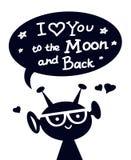 Szczęśliwy obcy charakter z literowaniem Kocham Ciebie księżyc i Popieram ilustracji