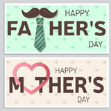 Szczęśliwy ojca dnia kartka z pozdrowieniami i Szczęśliwy matka dnia kartka z pozdrowieniami wektor Zdjęcia Stock
