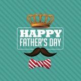 Szczęśliwy ojca dnia korony wąsy projekta EPS 10 wektor Zdjęcia Stock