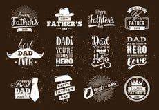 Szczęśliwy ojca dnia set Wektorowa typografia Obrazy Royalty Free