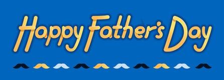 Szczęśliwy ojca dzień logo i slogan dla koszulki, baseball nakrętki lub pocztówki, oryginał jaskrawy - ilustracja dla ojca dnia - Obraz Royalty Free