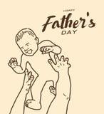 Szczęśliwy ojca ` s dnia kartka z pozdrowieniami, Brown brzmienia linii projekt Obrazy Royalty Free