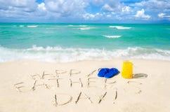 Szczęśliwy ojca ` s dnia tło na Miami plaży fotografia stock