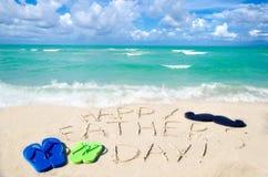 Szczęśliwy ojca ` s dnia tło na Miami plaży obraz royalty free