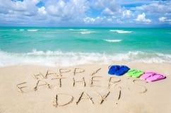 Szczęśliwy ojca ` s dnia tło na Miami plaży zdjęcia royalty free