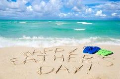 Szczęśliwy ojca ` s dnia tło na Miami plaży obrazy royalty free