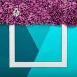 Szczęśliwy ojca ` s dzień, urodziny błękit lub turkus Colours tło i Kwiecistego mieszkania minimalizmu nieatutowy kartka z pozdro Obrazy Stock