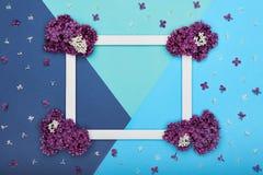 Szczęśliwy ojca ` s dzień, urodziny błękit lub turkus Colours tło i Kwiecistego mieszkania minimalizmu nieatutowy kartka z pozdro Obraz Stock