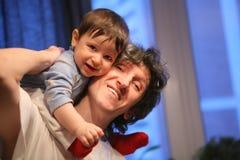 szczęśliwy ojca syn zdjęcia stock