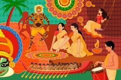 Szczęśliwy Onam festiwalu świętowania tło ilustracja wektor