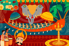 Szczęśliwy Onam festiwalu świętowania tło royalty ilustracja