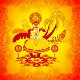 Szczęśliwy Onam tło w Indiańskim sztuka stylu Fotografia Royalty Free