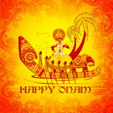 Szczęśliwy Onam tło w Indiańskim sztuka stylu ilustracji