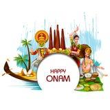 Szczęśliwy Onam wakacje dla Południowego India festiwalu tła royalty ilustracja