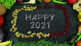 Szczęśliwy 2021 owocowy zatrzymuje ruch Fotografia Stock