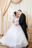 Szczęśliwy państwa młodzi całowanie na solennej rejestraci Obrazy Royalty Free