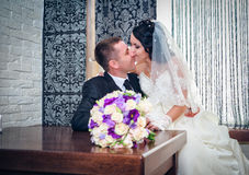 Państwo młodzi na ich dniu ślubu Obraz Royalty Free