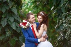 _ Szczęśliwy państwo młodzi w ogródzie wpólnie małżeństwa pojęcie Obraz Stock