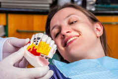Szczęśliwy pacient przy dentystą Obrazy Royalty Free