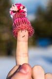 Szczęśliwy palec z nakrętką Obraz Stock