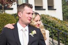 szczęśliwy para dzień ich ślub Fotografia Stock