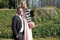 szczęśliwy para dzień ich ślub Obraz Stock