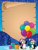 Szczęśliwy partyjny pingwinu pergamin 2 royalty ilustracja
