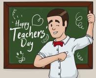 Szczęśliwy pedagog Świętuje Teacher& x27; s dzień, Wektorowa ilustracja royalty ilustracja