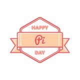 Szczęśliwy Pi dnia powitania emblemat Zdjęcie Stock