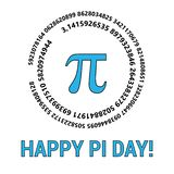 Szczęśliwy Pi dzień Świętuje Pi dzień Matematycznie konstanta Marzec 14th Współczynnik okręgu s obwód swój średnica ilustracji