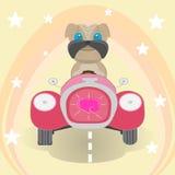 Szczęśliwy pies podróżuje samochodem ilustracja wektor