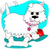 Szczęśliwy pies zakłada kość ilustracja wektor