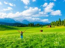 Szczęśliwy podróżnik w górzystej dolinie Zdjęcie Royalty Free
