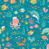 Szczęśliwy podwodny życie wzór ilustracji