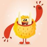 Szczęśliwy pomarańczowy potwór Wektorowy Halloweenowy potwora charakter ono uśmiecha się i macha Wektor na lekkim tle Obrazy Royalty Free