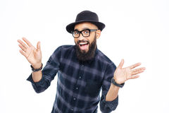 Szczęśliwy pomyślny młody brodaty afrykański mężczyzna Zdjęcie Stock