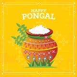 Szczęśliwy Pongal żniwa festiwal tamil nadu południe India ilustracja wektor