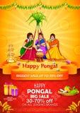 Szczęśliwy Pongal żniwa Wakacyjny festiwal tamil nadu India Południowa sprzedaż ilustracja wektor