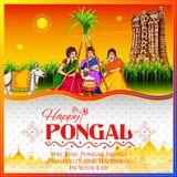 Szczęśliwy Pongal żniwa Wakacyjny festiwal tamil nadu India powitania Południowy tło royalty ilustracja