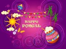 Szczęśliwy Pongal religijny tradycyjny festiwal tamil nadu India świętowania tło ilustracji