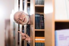 szczęśliwy popielaty włosiany bibliotekarski przyglądający out od szelfowego i pokazuje pomysłu Zdjęcia Stock