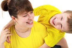 szczęśliwy portret rodzinny Kobieta i dziecko Zdjęcia Royalty Free