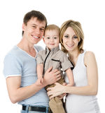 szczęśliwy portret rodzinny pojedynczy białe tło Zdjęcia Royalty Free