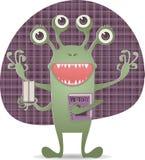 Szczęśliwy potwór z książką ilustracja wektor